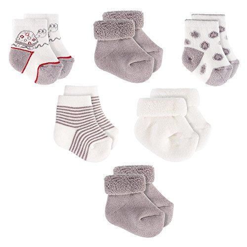 6er Pack - Erstlingssocken / Erstlingssöckchen / Baby Socken - Schadstoffgeprüft nach Öko-Tex Standard 100   Ecru Grau