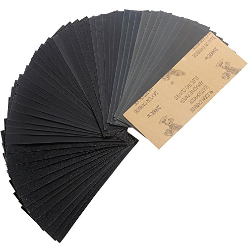 Faburo 48 Stüke Schleifpapier Set,Trocken und Nasses Schleifpapier, von 120 bis 2000 Grit 9 * 3.6 Inch für Polieren