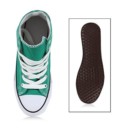 Sportliche Damen Sneakers |Stoffschuhe Camouflage Schnürer | Sneaker High Neon | Sportschuhe Grün Weiss