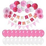 Erlliyeu Geburtstag Dekoration,39 Stück Geburtstagsdeko, Happy Birthday Girlande mit Luftballons Latexballons und Girlande mit Seidenpapier Pompoms für Geburtstag Dekoration (Pink)