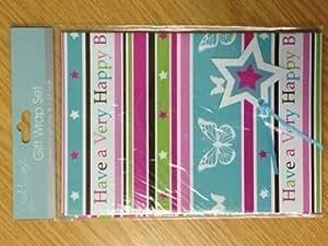 Rose Rayé Papillon Femme Pour Filles Enfants Papier Cadeau D'emballage