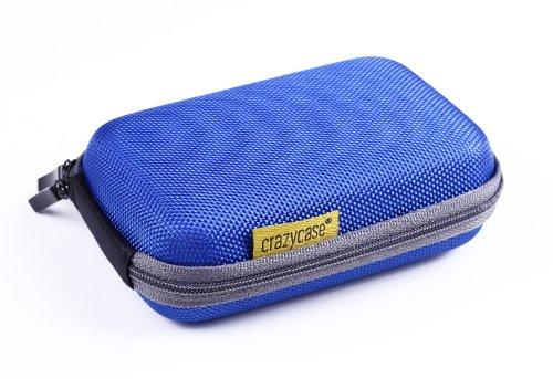 CrazyCase® HS1 L Kameratasche Hardcase Shellbag für Panasonic Lumix DMC TZ61 FT4 TZ25 TZ71 Nikon Coolpix S33 S7000 AW130 L31 Canon Powershot N100 A1200 SX610 SX600 D30 Sony CyberShot WX350 WX220 H90S HX10 - Blau