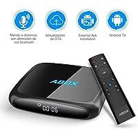 ABOX A4 Android TV Box con Voice Remote y 4K Ultra HD Android 7.1 Quad Core 2GB RAM/16GB ROM Soporte 2.4GHz WiFi Bluetooth 4.0 Smart TV Box