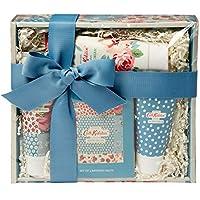 Cath Kidston Beauty Cottage Patchwork Pamper Hamper, 100 ml Hand Cream, 50 ml Body Scrub, Box Set of four Bathing Salts, 75 ml Body Wash