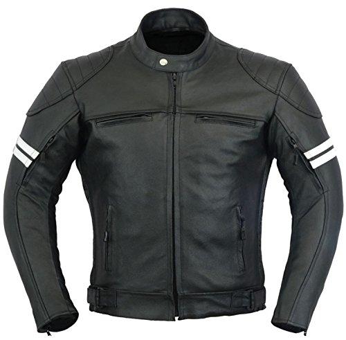Batman Leder Motorrad Jacke Motorradfahrer Männer Schutz Mantel - schwarz, L (Leder-motorrad-jacke-mantel Schwarzes)