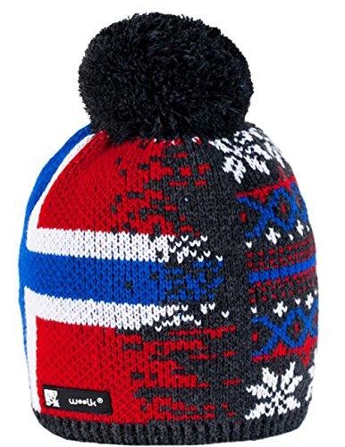 Unisex Beanie hat Bonnet d'hiver chaud Fashion SKI SNOWBOARD Sport doublure polaire 100% Laine (Bruno 21) Nordic 43