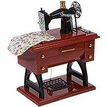 SODIAL(R) Caja de musica mecanica de estilo de mini maquina de coser vintage