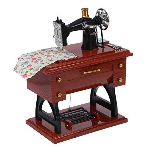 SODIAL(R) Caja de musica mecanica de estilo de mini maquina de coser vintage rebobinado