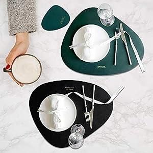 4PCS Leder Tischsets Wasserdicht Rund Premium Set Glasuntersetzer für Glas, Getränke, Gläser, Tassen