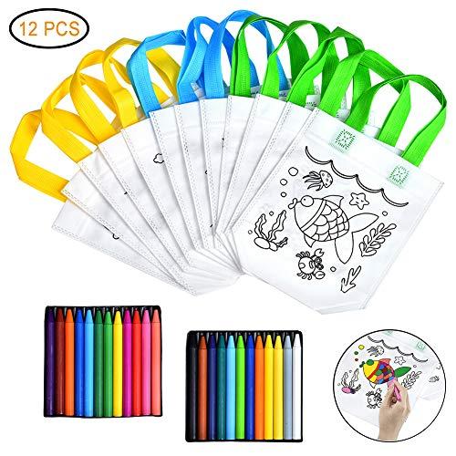 Queta Kinder Stoffbeutel Set, 12 Stück Stofftaschen zum Bemalen und 24 Farbe Buntstifte für Kinder DIY Graffiti Taschen für Geburtstagsfeier Schulen Kindergarten
