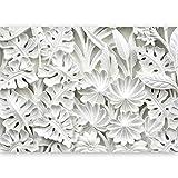murando - Vlies Fototapete 500x280 cm - Vlies Tapete - Moderne Wanddeko - Design Tapete - Blätter weiß f-B-0058-a-a