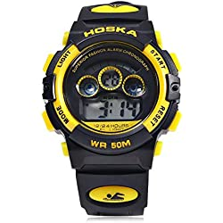 Leopard Shop HOSKA H001S Children Sports Wristwatch LED Digital Watch Day Chronograph LED Water Resistance Yellow Black