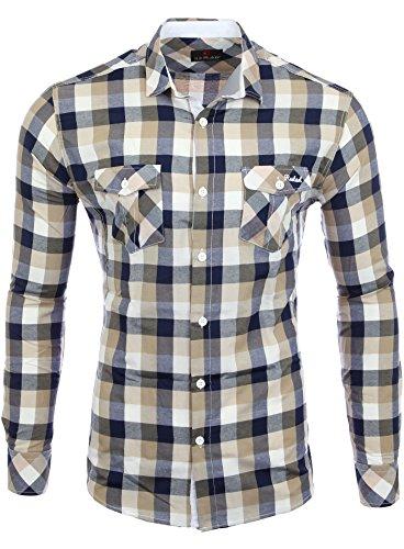 Reslad Herren Hemd Männer Partyhemd Herrenhemd Freizeit Figurbetont karriert Kontrast Flanellhemd RS-7060 Camel Weiß L