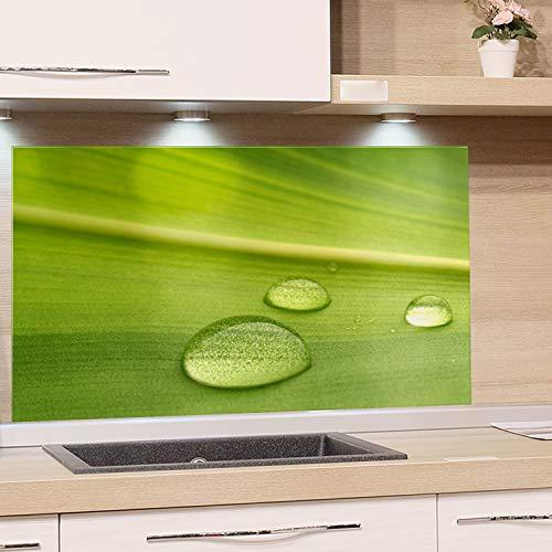 GRAZDesign Küchenrückwand Glas Grün - Spritzschutz Küche Herd - Glasrückwand als Glasbild / 80x40cm