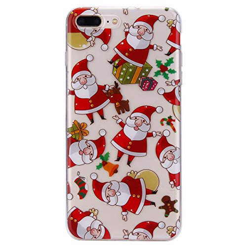 EUWLY Cover per iPhone 7 Plus/iPhone 8 Plus (5.5), EUWLY Custodia per iPhone 7 Plus/iPhone 8 Plus (5.5) Silicone Trasparente TPU Case Xmas Christmas Natale Flessibile Morbido Custodia Cover Ultra So Babbo Natale