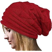 Tuopuda Crochet Invierno Gorro Punto Caliente Cozy Mujeres Grande Sombrero  Moda Diseño de Lana Tejer Beanie a0baea09c09