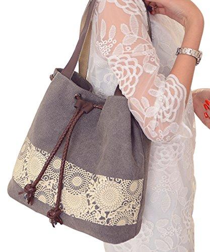 PB-SOAR Damen Vintage Canvas Shopper Schultertasche Beuteltasche Handtasche mit Kordelzug