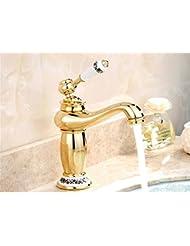 pengweiOr-cuivre antiques-l'échelle du bassin chauds / froids robinets laver bassin style Mélangeur lavabo monotrou