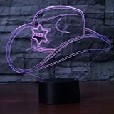 Creativo 3D Colorful Led Gradient Cowboy Cappello Nightlight Cap Usb Kids Sleep Camera Da Letto Comodino Decor Lampade Desk Table Lamp