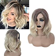 LayTmore Women Wigs,Natural Colors Gold Gradient Short Curly Synthetic Wig Women Fashion Wavy Wigs,17.7Inch