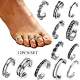 Shining Diva Fashion 12 Pcs Stylish Adjustable German Silver Toe Ring for Women