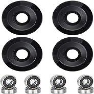Ronvir Skateboard Wheels 52mm 95A with ABEC-9 Bearings, Pack of 4, Black
