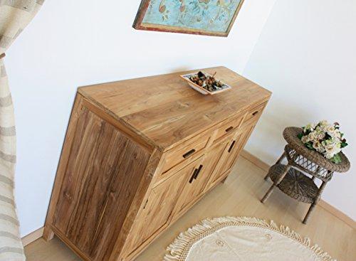 Mobile buffet credenza madia in legno di Teak Naturale 3 ante 3 cassetti - Collezione Natural Chic