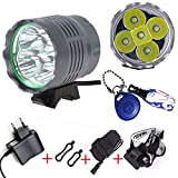 Linterna LáMPARA para 5x Cree XM-L T6 6000 lúmenes LED de bicicleta /bici lámpara Luz LED frontal para manillar de bicicleta bicicletas 3 modos con 8800mAH batería y cargador (5X)