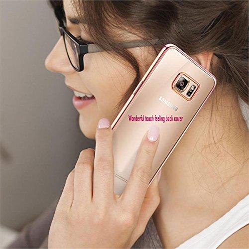 Samsung Galaxy S7Edge Schutzhülle Crystal Clear Soft Slim Flexible TPU Schutzhülle Transparent Drop Schutz Slim Stoßdämpfung für Ihre Galaxy S7Edge Vergoldung Farbe Bumper, Gold Rose