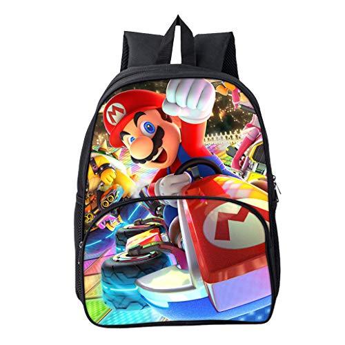 Wadaland Super Mario Rucksack für Kinder,Anime Cartoon Muster Grundschule Rucksack Mädchen Junge,Karikatur Drucken Schultasche Rucksäcke Daypacks Tasche Große Kapazität Backpack Sale (2)