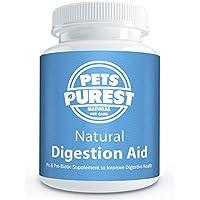 Pets Purest Ayuda de digestión 100% natural para perros, gatos, caballos y mascotas | Las enzimas digestivas, los probióticos y los prebióticos ayudan a aumentar las bacterias buenas | Trate las glándulas anales, las heces firmes, la diarrea, el SII, la hinchazón, el viento, la colitis, la mala respiración, el estreñimiento y el malestar estomacal | Fuente de fibra libre de gluten | Regula y mejora la digestión | SIDA sistema inmune | Suministro de 60 días