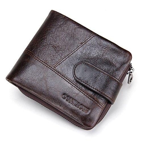 Contacts Herren echtes Leder Bifold Zipper Münzen Tasche Geldbörse Dunkelbraun (Tasche Brieftasche)