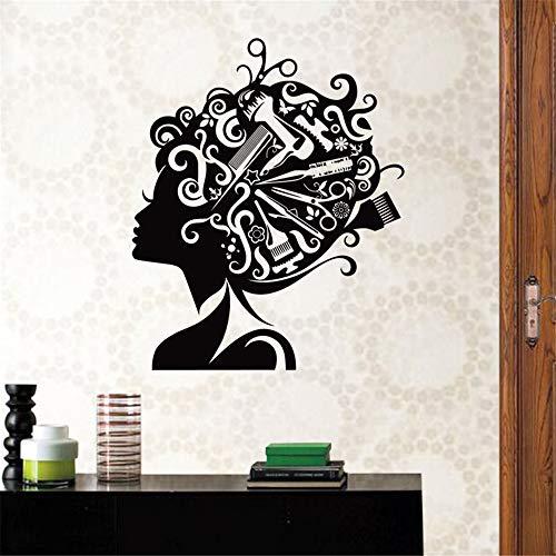 zlhcich Friseursalon Aufkleber Schönheit Aufkleber Haarschnitt Name Poster Zeit Stunde VinylWandkunstAufkleber Dekor Dekoration Wandbild Salon Aufkleber96 * 116 cm (Salon-elemente)