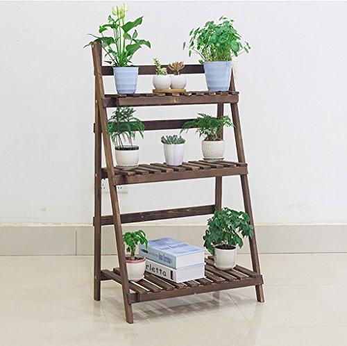 estantes para plantas Soporte plegable de madera de la maceta de 3 niveles Jardinera del jardinero Escalera de visualización Jardinero Estantes de almacenamiento Titular de la hierba del estante (70L X 36W X 105H (cm)) ( Color : B )