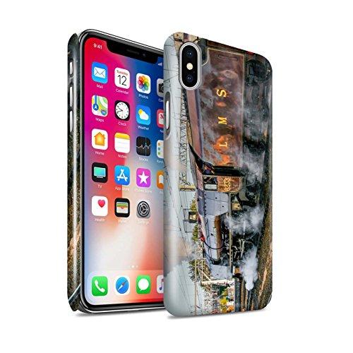 STUFF4 Glanz Snap-On Hülle / Case für Apple iPhone X/10 / Dominion NZ/Blau Muster / Dampflokomotive Kollektion Sutherland/Rot
