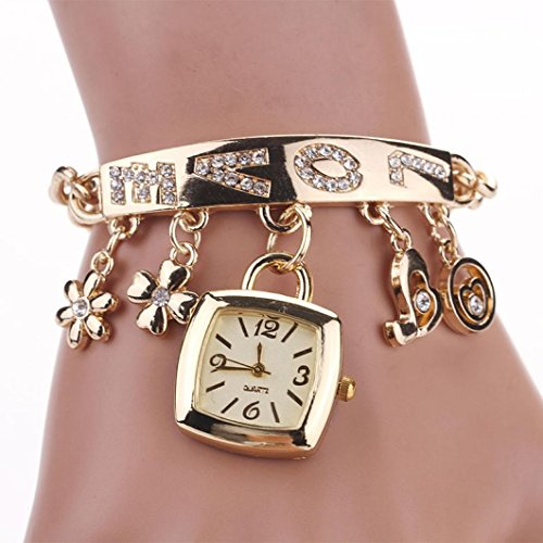 Fashion Kette Armbanduhr Armband Frauen Love Strass Legierung quadratisch Uhren Charm-Armbänder Armreif für Frauen Watch Band Length: 21cm/8.3inch gold
