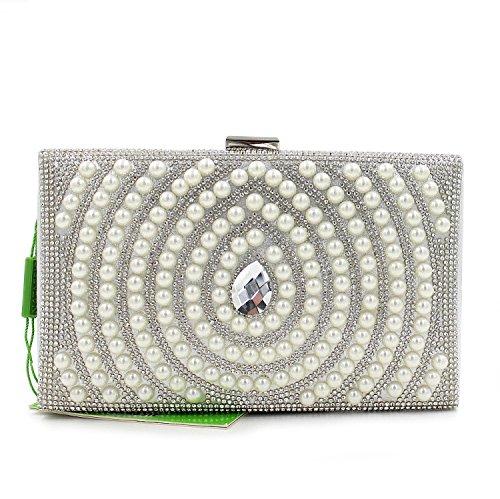 Damen Abendtasche Armband Perle Abendessen Pack Brautkleid-Beutel-beweglicher Partei-Beutel Silver