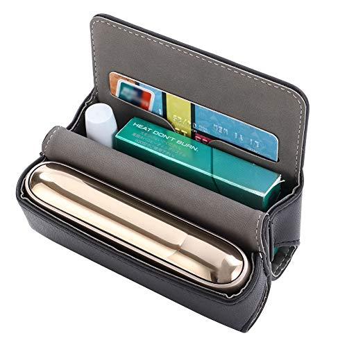 DrafTor E Zigarette Tasche, PU Leder Zigarettenetui für IQOS 3.0 mit Magnetabdeckung (nur Tasche)(schwarz) - 3 Taschen Für Zubehör