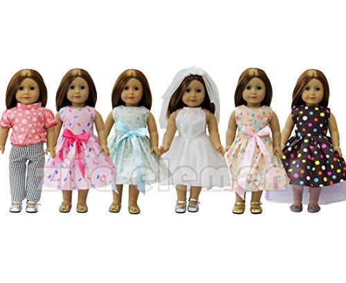 ZITA ELEMENT Beiläufig Suite 6 Tägliche Kostüme Kleid Kleidung für 18 Zoll American Girl Puppe und andere 45-46 cm GötzPuppe Kleidung für Weihnachten (Und Kostüm Ken Bilder Barbie)