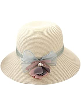 youkara verano sombrero de paja de moda las niñas playa sol sombrero gorra sombrero de ala ancha, mujer, beige