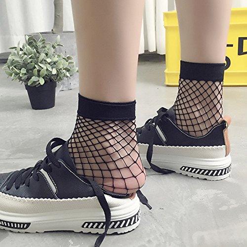 Seide Haufen (TT Netzstrümpfe Socken Korea kurze Socken weiblichen Haufen von Strümpfen Anti-Haken-Seide Europa und Amerika Strümpfe japanischen Harajuku dünnen Abschnitt,schwarz,Durchschnittlic)