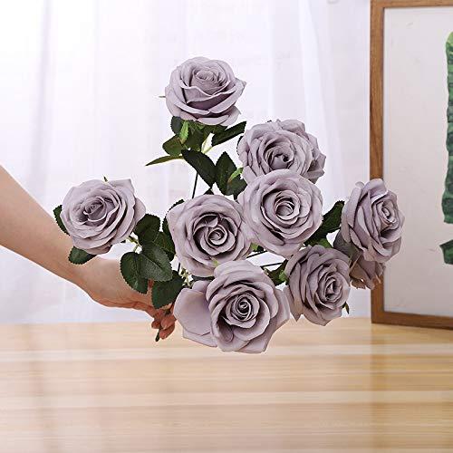 Jun7L Rosen 10 Stück Real Touch Schöne Echtes Moisturizing Curling Knospe Latex künstliche Rose Kunstblumen Blume Dekoration Blumenstrauß Blumenarrangement- Grau 50CM