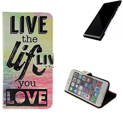 K-S-Trade Für Turing Robotic Industries Turing Phone Schutz Hülle 360° Wallet Case ''live Life Love'' Schutzhülle Handy Tasche Handyhülle Etui Smartphone Flip Cover Standfunktion (1x)