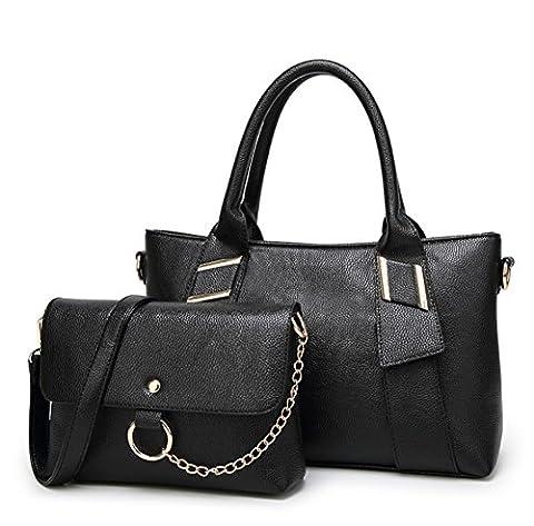 YAAGLE 2 Pc Neu Damen Handtasche Schultertasche europäische Stil weiblich schultertasche set schwarz