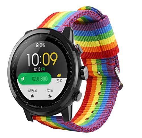 Estuyoya - Bracciale in Nylon Compatibile con Xiaomi AMAZFIT Stratos 2 / Stratos 2S / Pace Colori di Orgoglio Gay LGBT, Larghezza...