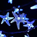 Qedertek Solar Lichterkette Außen mit 30 LED Blau Sterne 6 Meter 8 Modi Solar Beleuchtung für Garten, Party, Weihnachten, Outdoor, Fest Deko usw.