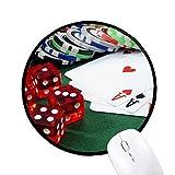 beatChong Chip-Poker Geld Spielen Würfel Foto Runde Griffige Mousepads Schwarz genähte Kanten Spiel Büro-Geschenk