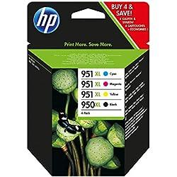 HP 950XL/951XL pack de 4 cartouches d'encre noire/cyan/magenta/jaune grande capacité authentiques pour HP OfficeJet Pro 251dw/276dw/8100/8600 (C2P43AE)