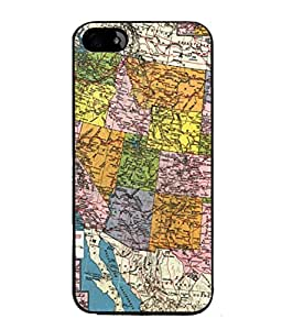 PrintVisa Designer Back Case Cover for Apple iPhone 5 (The Great United States Political Map Design)