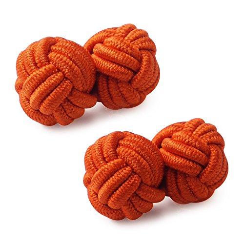 Honey Bear 1 Paar Herren/Damen Seide Stoff Knoten Seidenknoten Manschettenknöpfe für Hemd /Kleid zum (Orange)